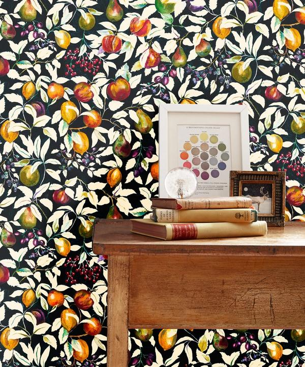 Billett Wallpaper in Banquet Black