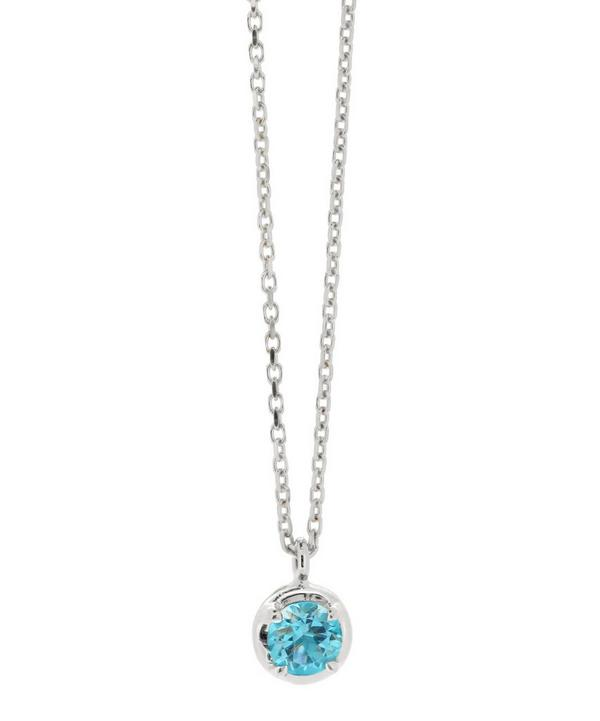 White Gold Rosie Blue Topaz Pendant Necklace