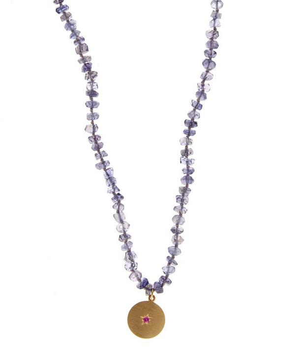 Iolite Bead Crescent Moon Necklace