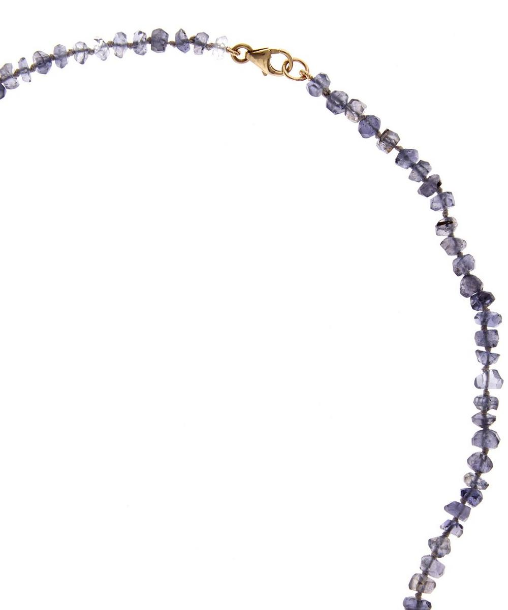Iolite Bead Crescent Moon Necklace