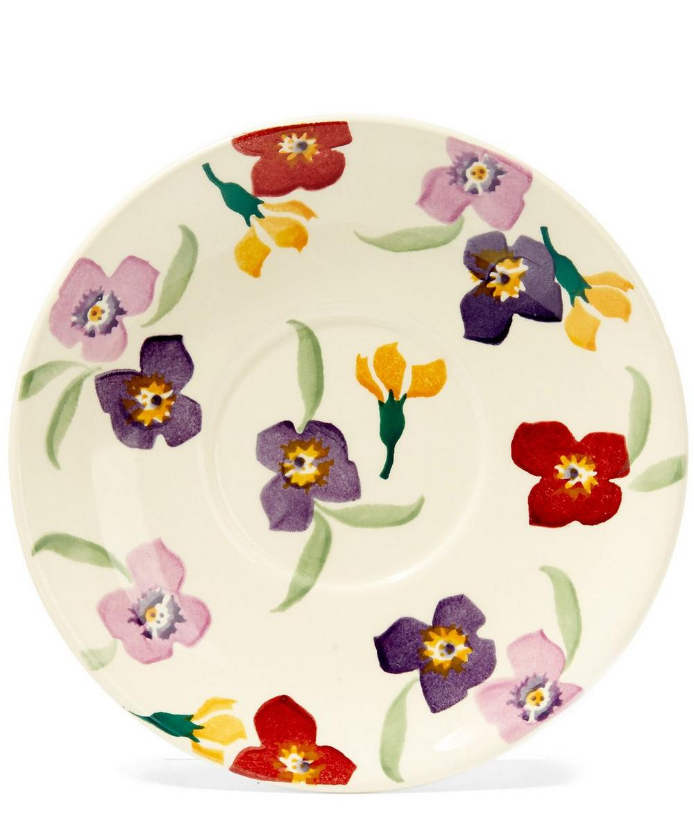 Large Wallflower Earthenware Tea Cup and Saucer