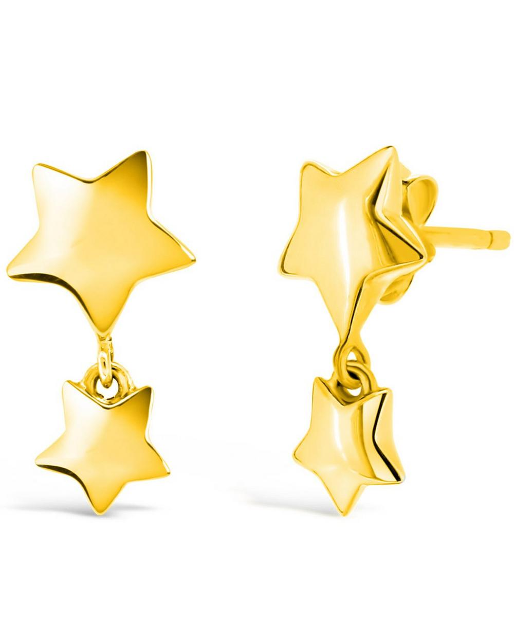 Gold-Plated Bijou Star Dangle Earrings