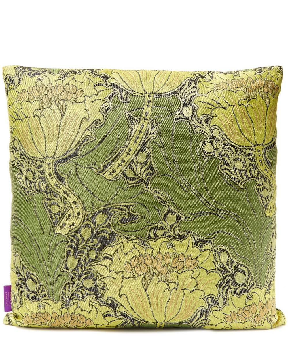 Mary in Arts Green Linen-Blend Cushion