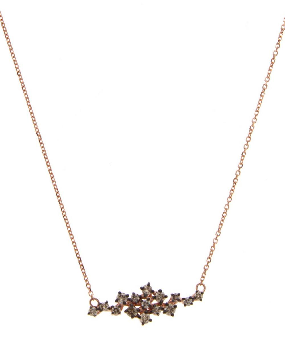 Champagne Diamond Cluster Necklace