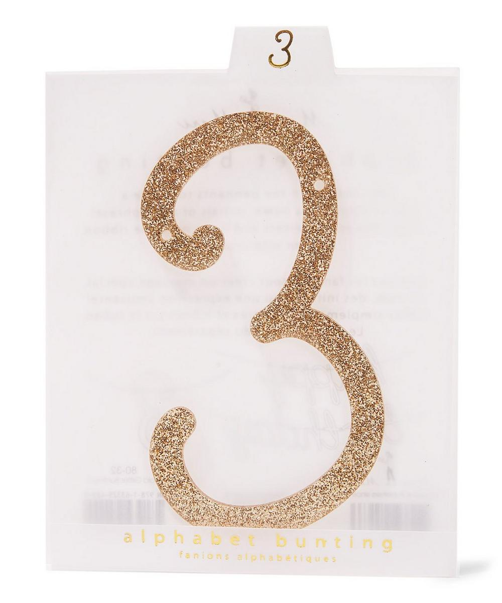 Glitter 3 Acrylic Bunting Number