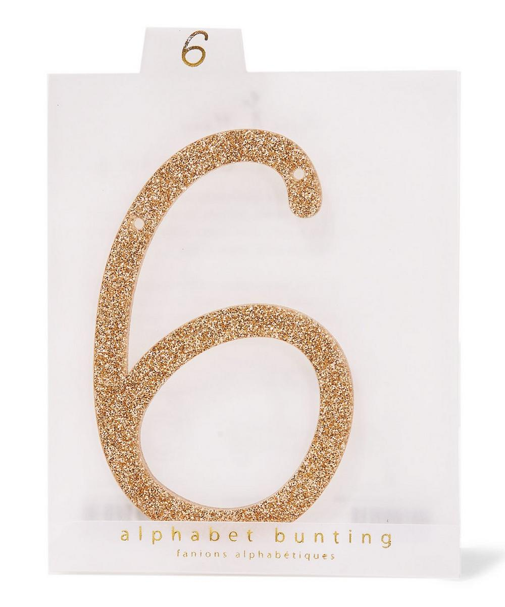 Glitter 6 Acrylic Bunting Number