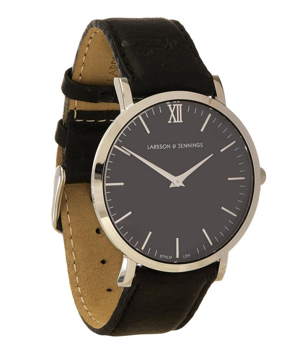 Lugano 40mm Silver-Black Leather Exclusive Watch