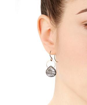 Gold Black Rutilated Quartz Single Drop Earrings