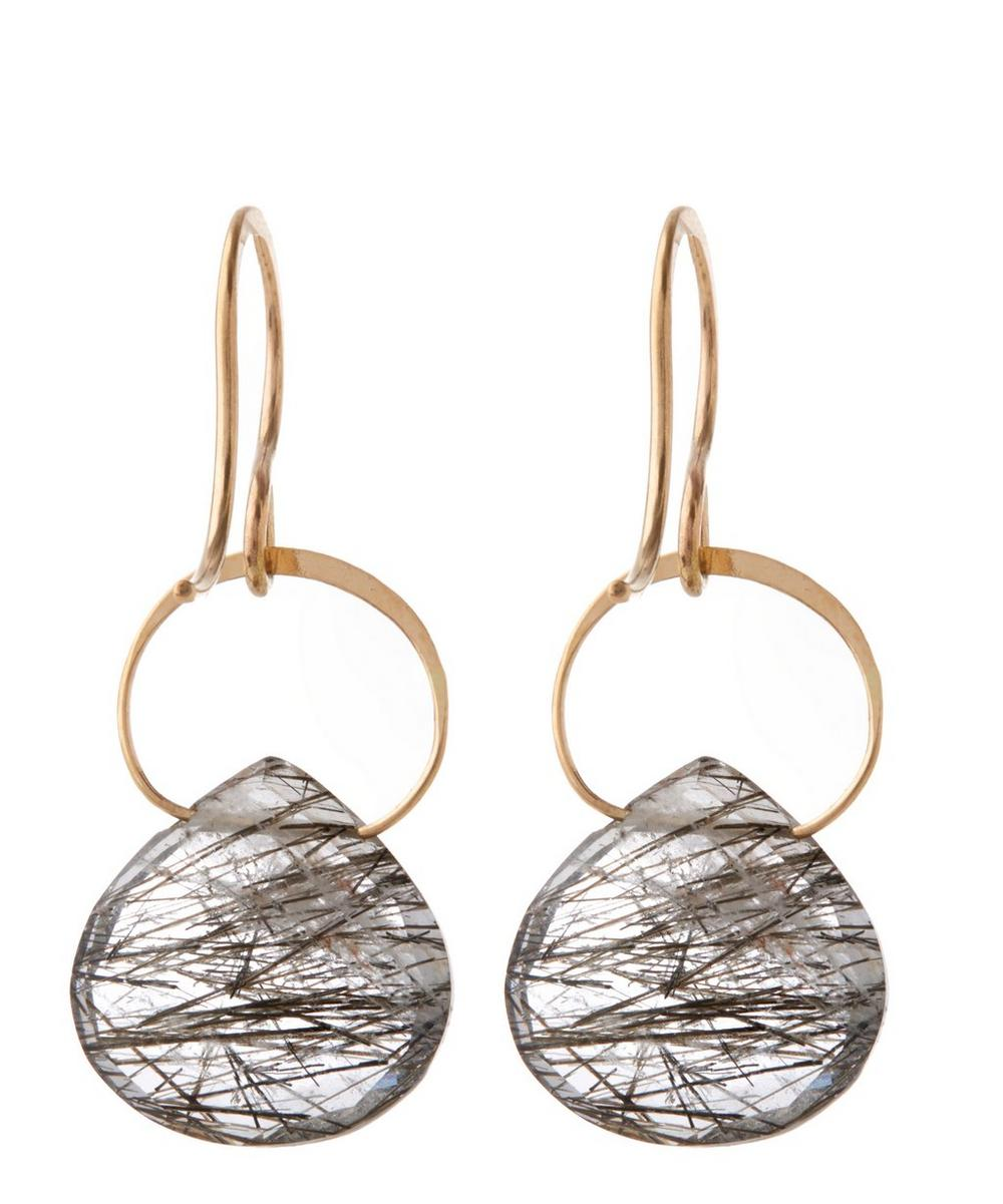 Gold Black Rutilated Quartz Single Drop Earrings