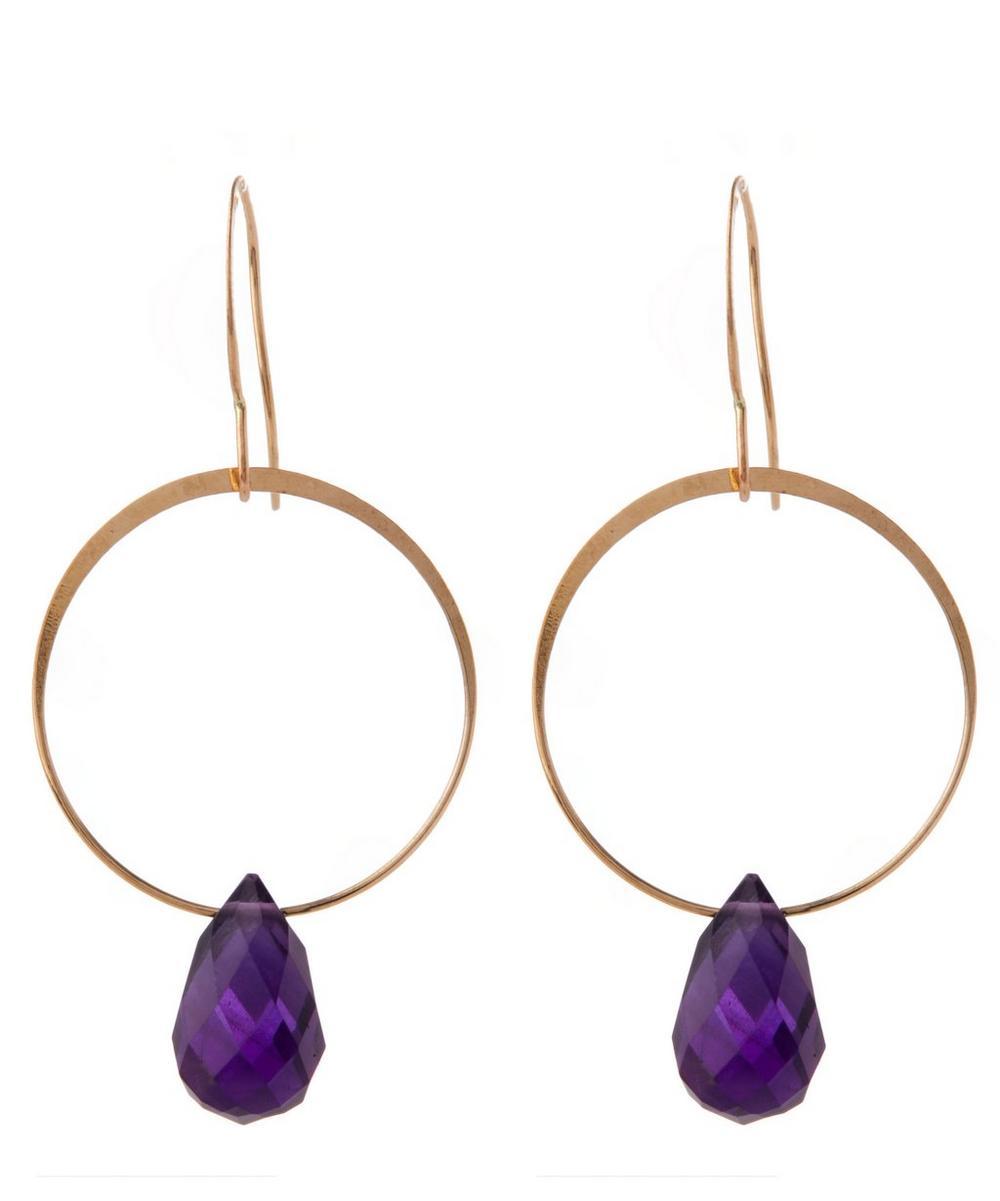 Gold Amethyst Single Drop Earrings