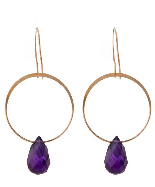 Gold Amethyst Single Drop Earrings