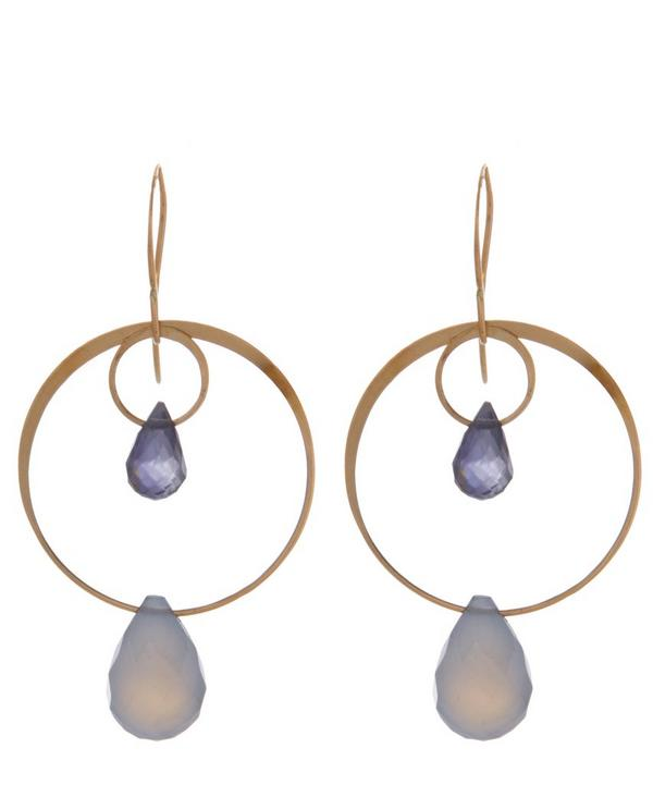 Gold Blue Chalcedony Two Drop Earrings