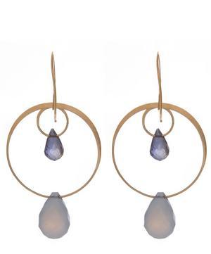Gold Blue Chalcedony Two Drop Earrings