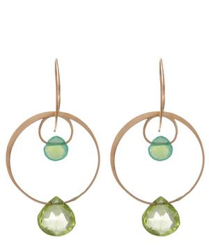 Gold Chrysoprase and Peridot Two Drop Earrings
