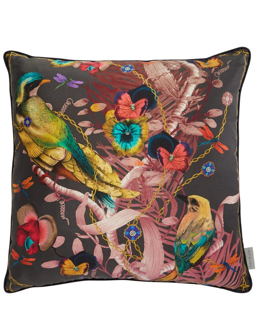 Birds in Chains Silk Cushion
