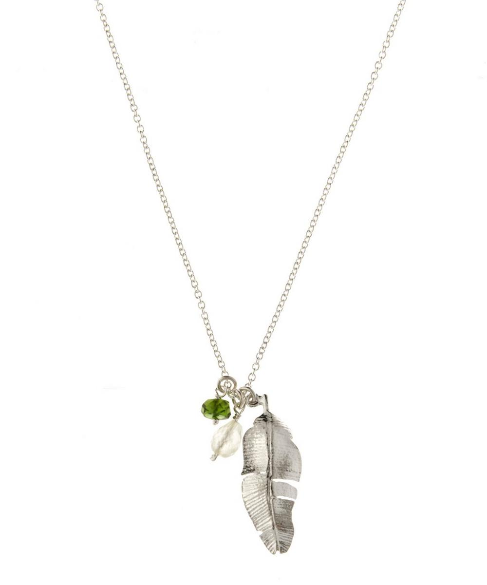 Sterling Silver Phrenite and Chrome Diopside Stone Banana Leaf Necklace