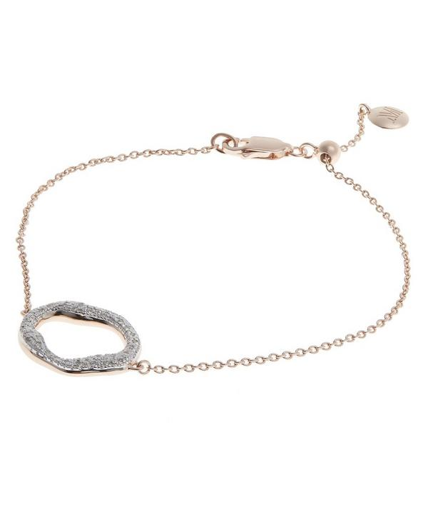 Rose Gold-Plated Riva Diamond Circle Chain Bracelet