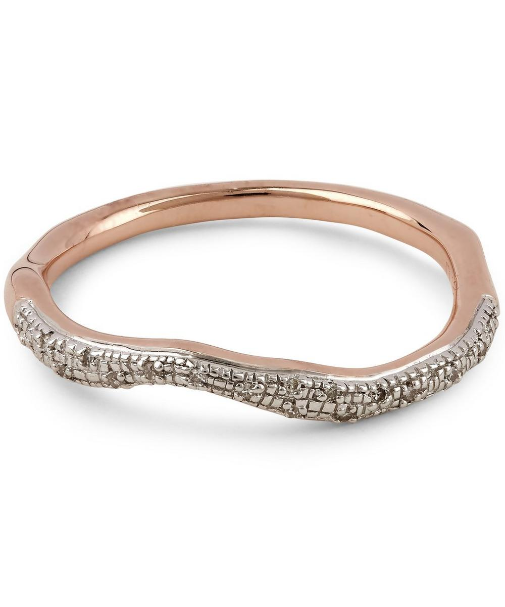 Rose Gold Vermeil Riva Diamond Wave Stacking Ring