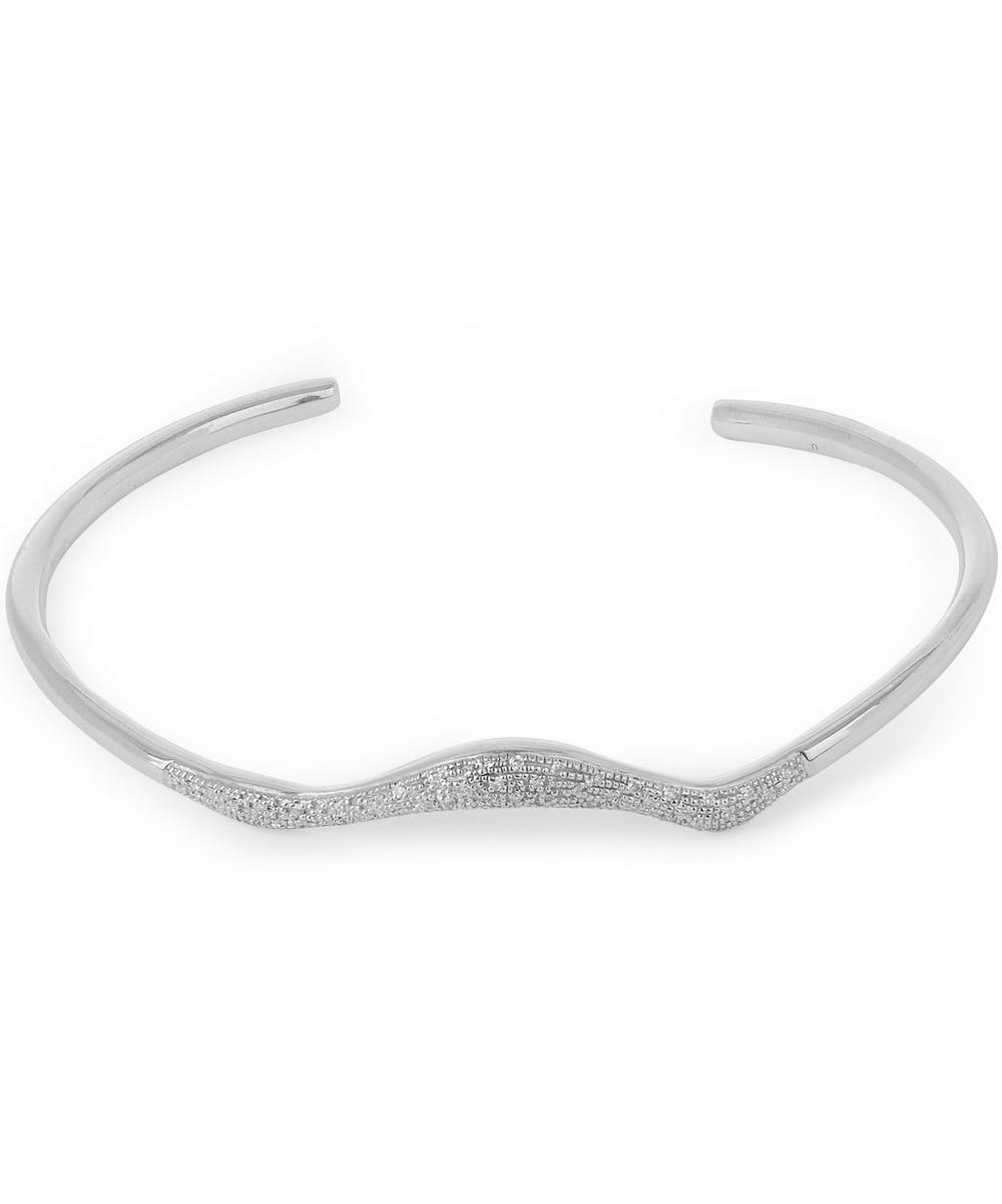 Silver Riva Diamond Wave Cuff