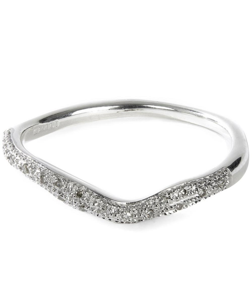 SILVER RIVA DIAMOND WAVE STACKING RING