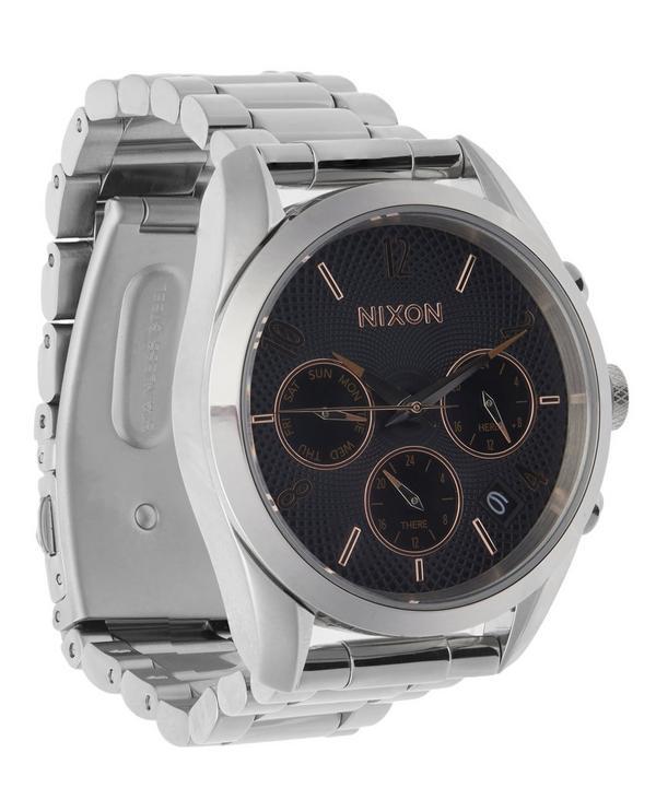Silver-Tone Bullet Chrono Watch