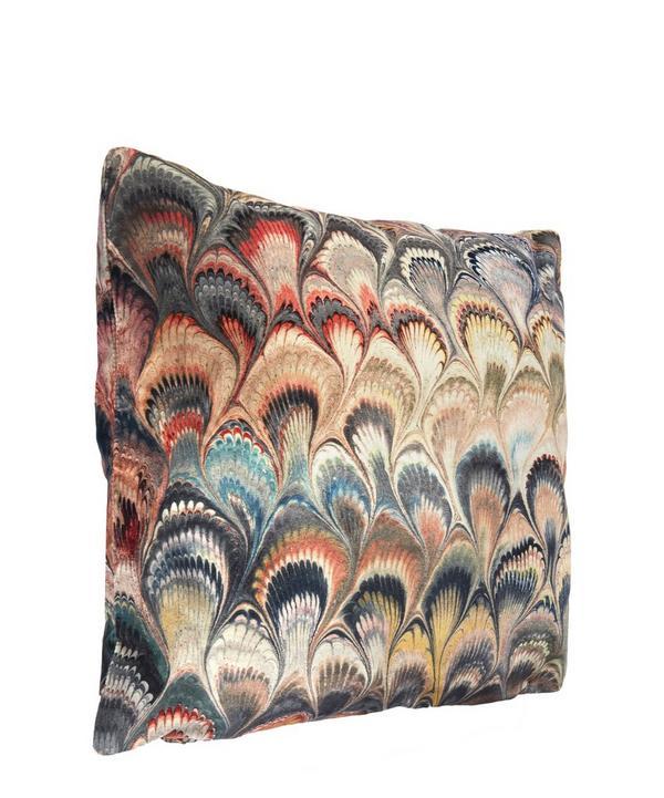 Marbelized Print Velvet Cushion