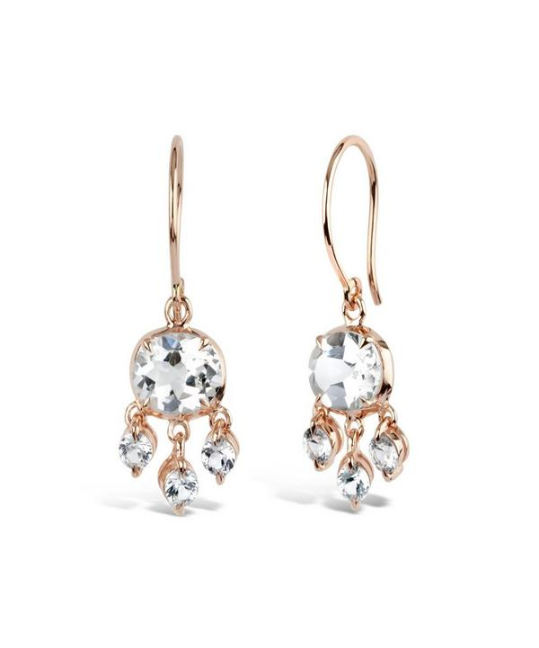 White Topaz and White Sapphire Bali Earrings