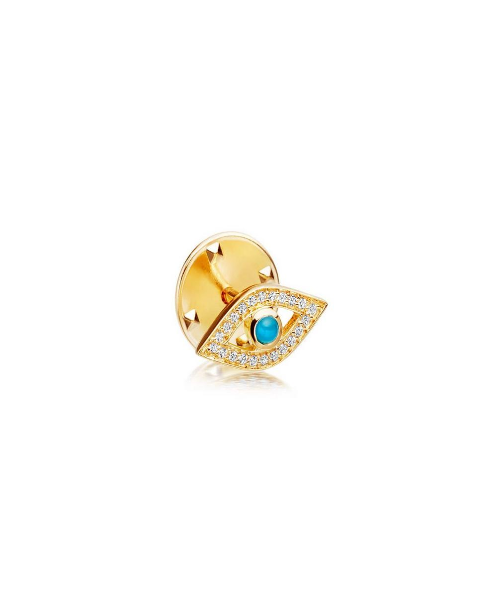 Gold-Plated Evil Eye Biography Pin