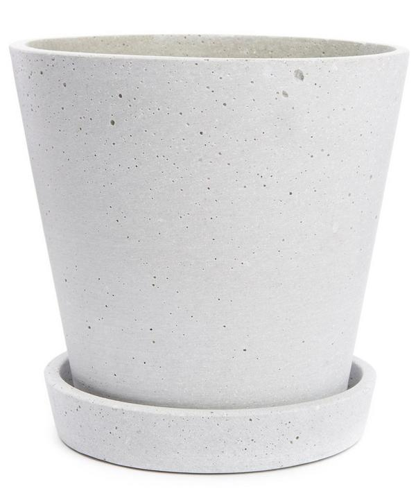 Large Concrete Flower Pot with Saucer