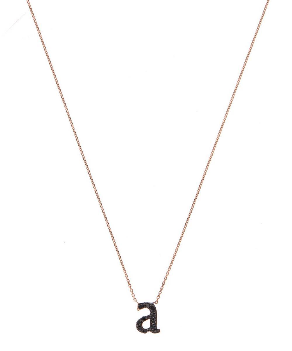 Rose Gold Black Diamond Letter A Necklace