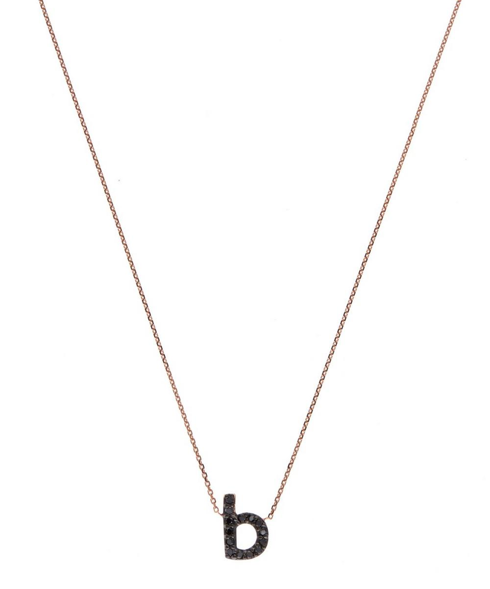 Rose Gold Black Diamond Letter B Necklace