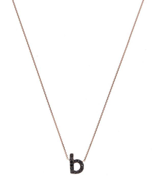 Rose Gold Black Diamond Letter B Necklace