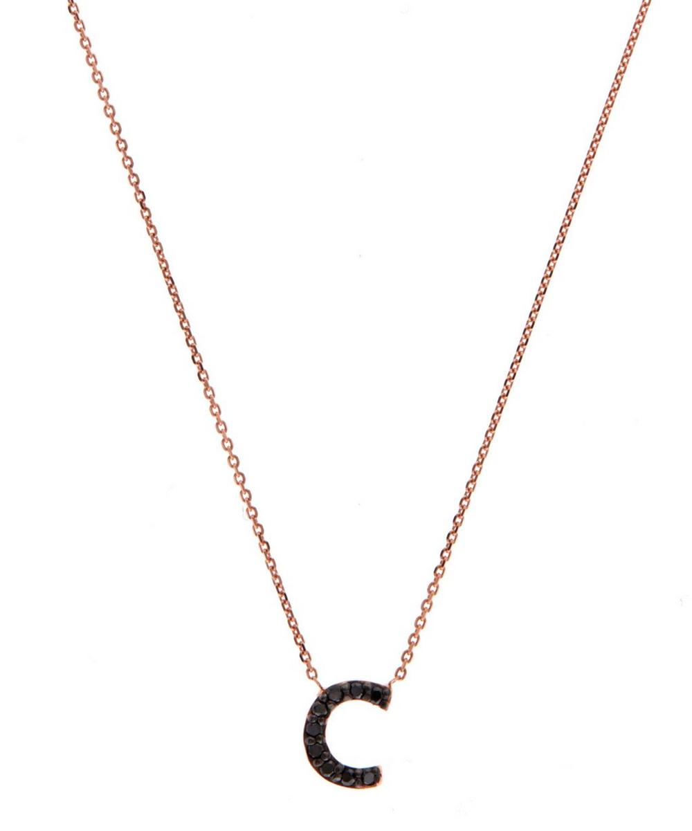 Rose Gold Black Diamond Letter C Necklace