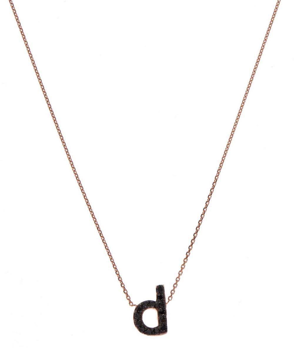 Rose Gold Black Diamond Letter D Necklace
