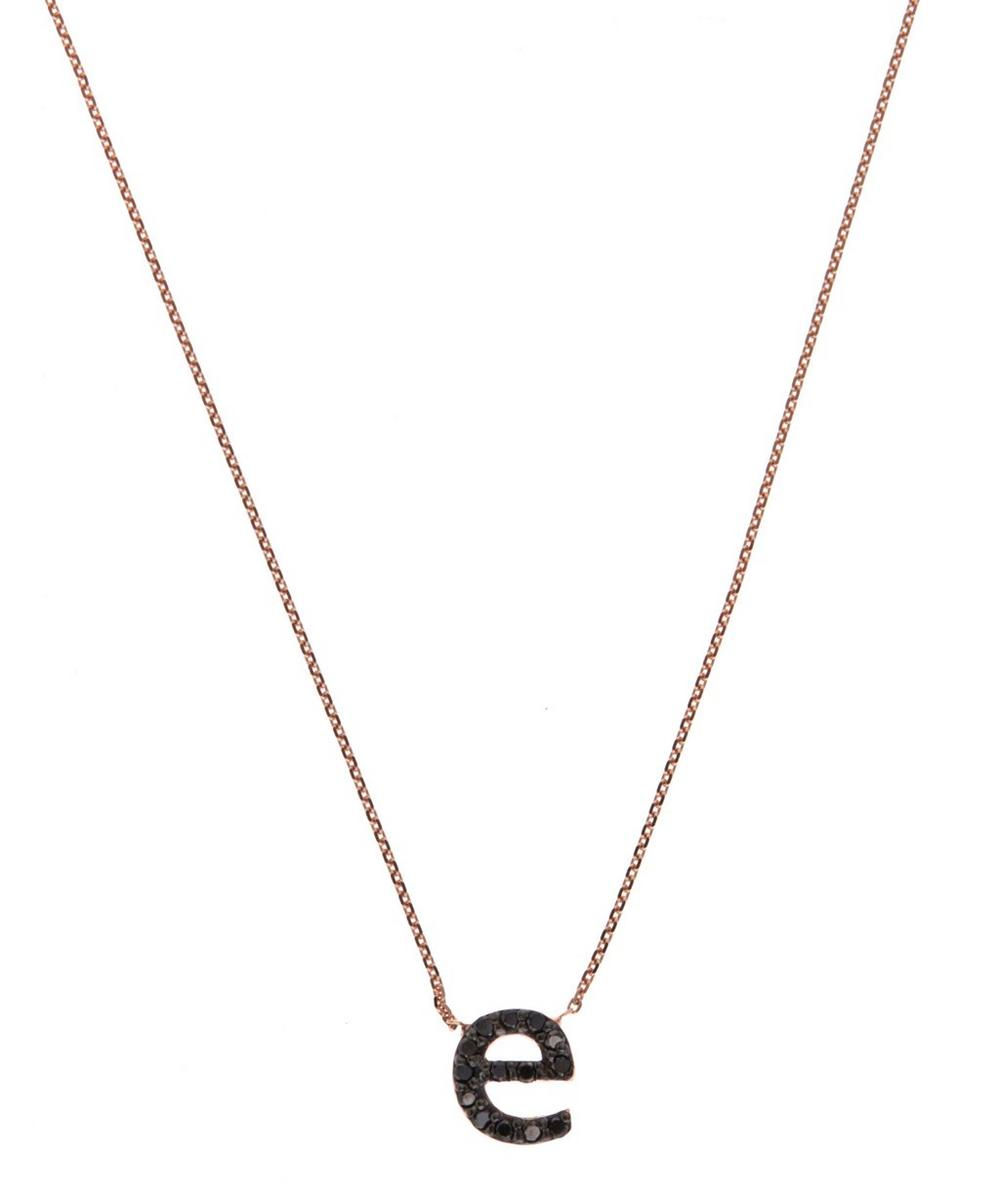 Rose Gold Black Diamond Letter E Necklace