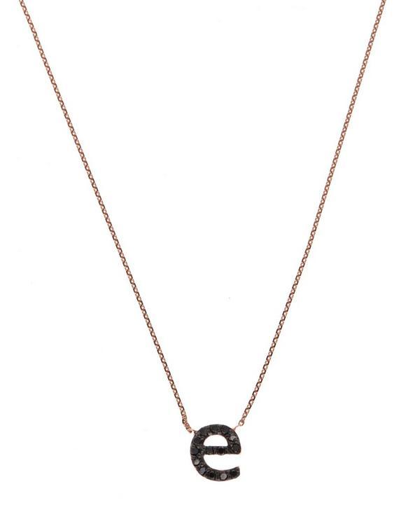 Rose Gold Black Diamond Letter E Necklace