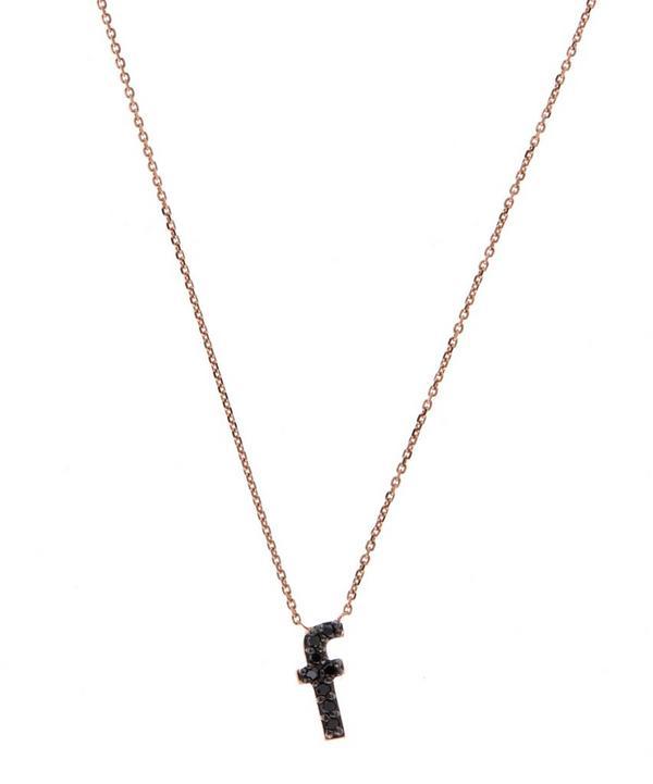 Rose Gold Black Diamond Letter F Necklace