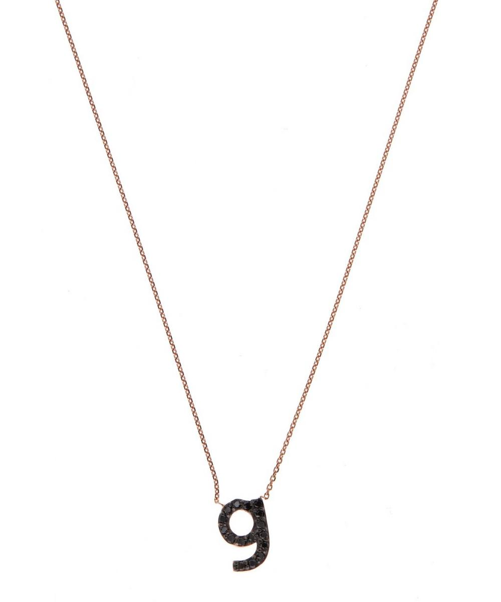Rose Gold Black Diamond Letter G Necklace