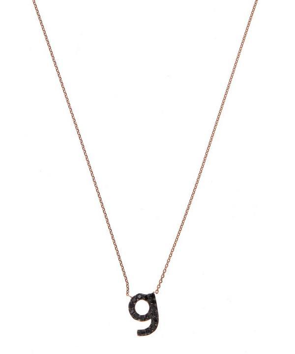 Rose Gold Black Diamond Letter G Necklace