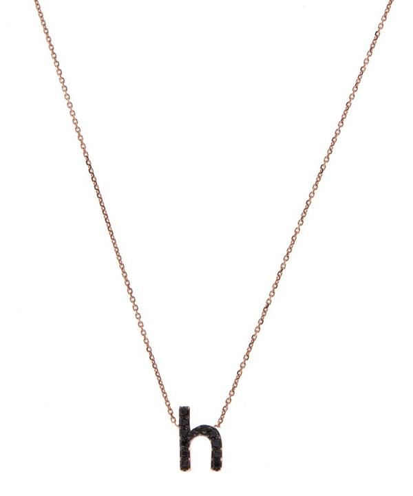 Rose Gold Black Diamond Letter H Necklace