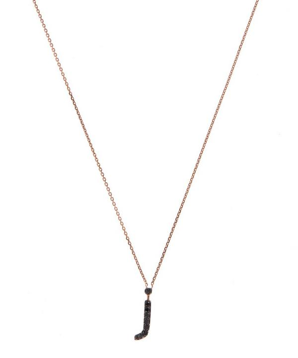 Rose Gold Black Diamond Letter J Necklace