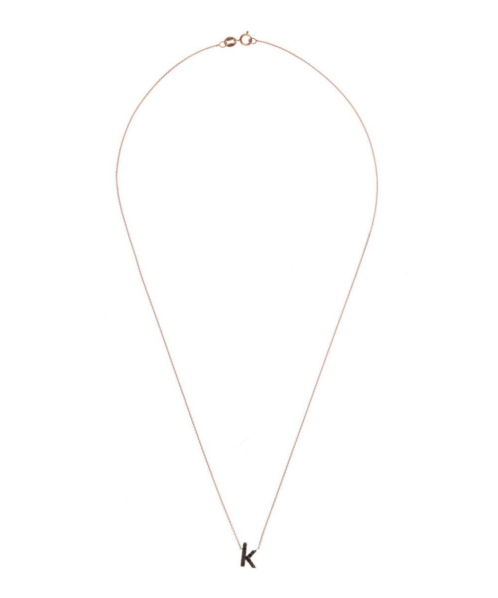 Rose Gold Black Diamond Letter K Necklace