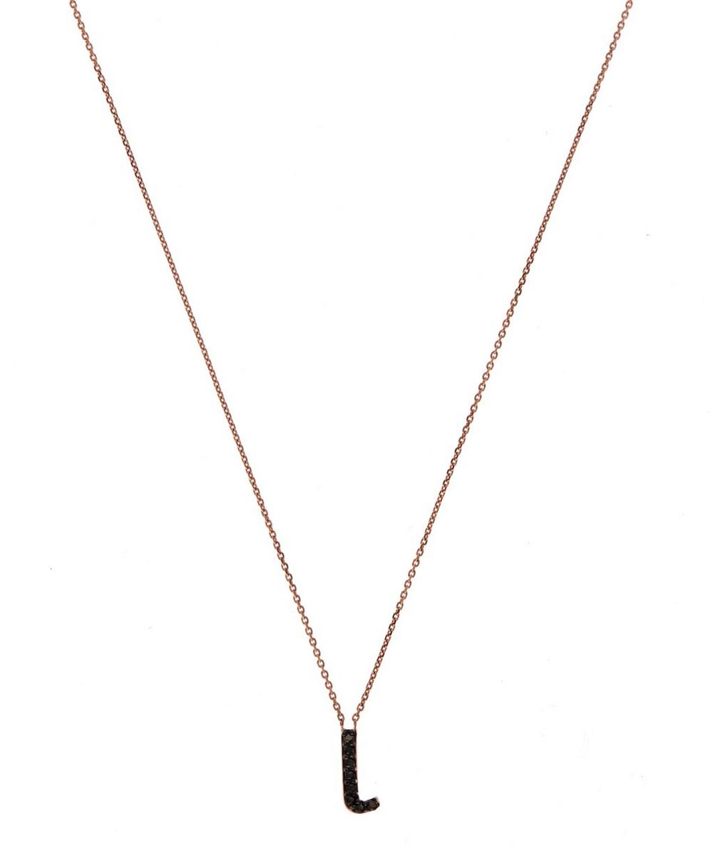 Rose Gold Black Diamond Letter L Necklace