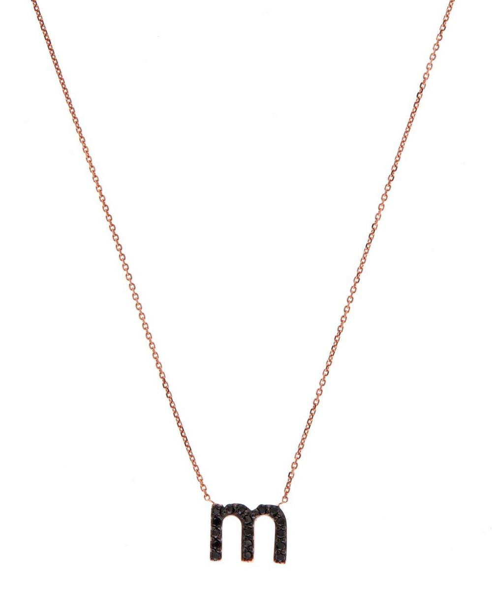 Rose Gold Black Diamond Letter M Necklace