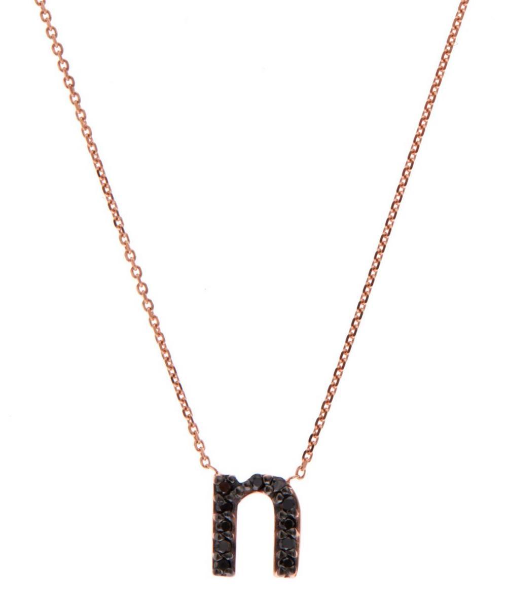 Rose Gold Black Diamond Letter N Necklace
