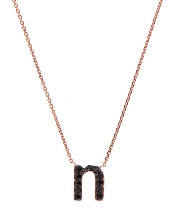 Rose Gold Black Diamond Letter N Necklace