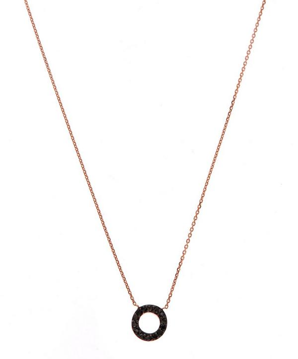 Rose Gold Black Diamond Letter O Necklace