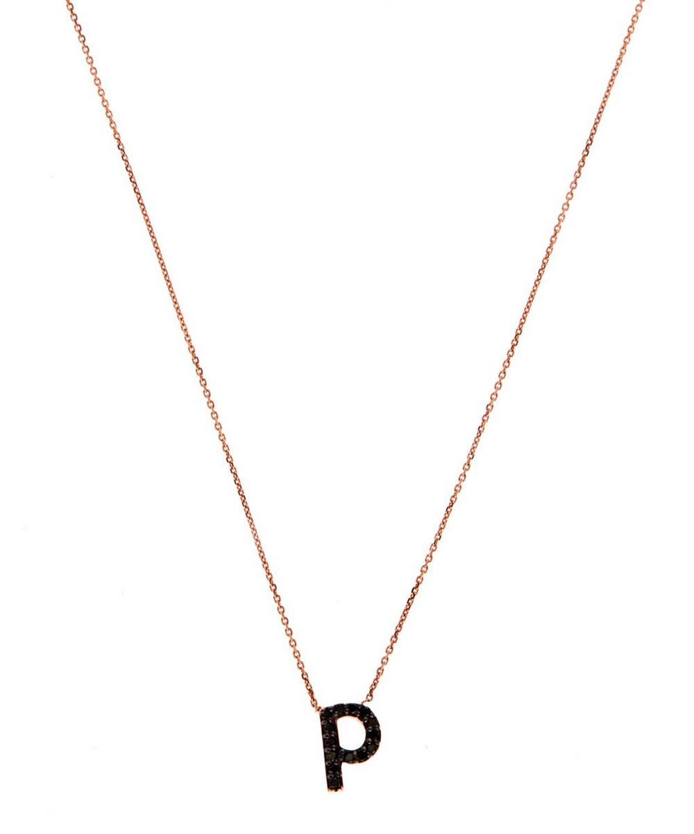Rose Gold Black Diamond Letter P Necklace