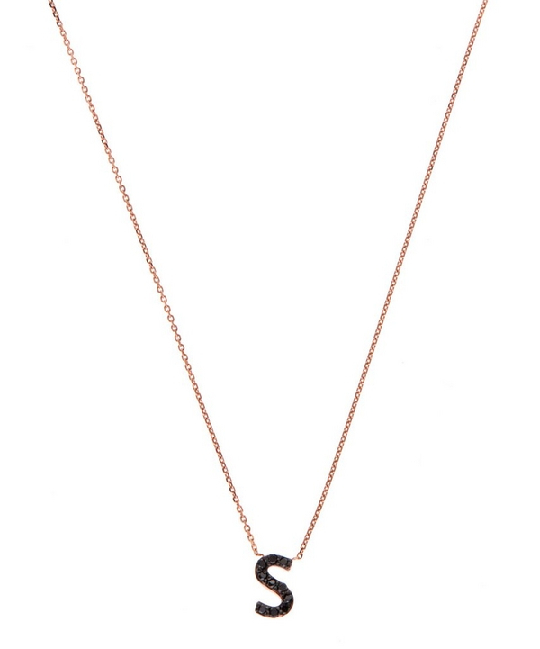 rose gold black diamond letter s necklace