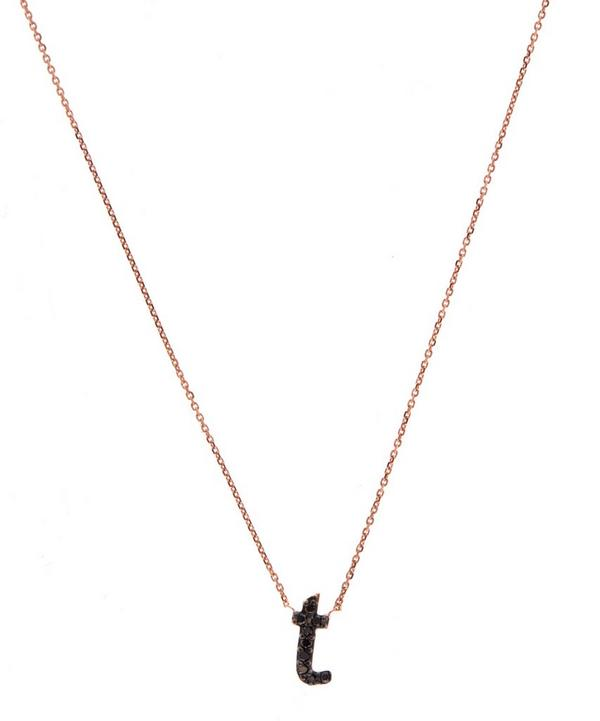 Rose Gold Black Diamond Letter T Necklace